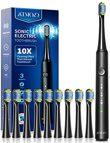 ATMOKO Electric Toothbrush with 10 Duponts Brush Heads, 40000 VPM, Fast Charge 2 Hr Last 35 Days Rechargeable Power Sonic Toothbrushes Adults & Kids, Upgrade Black (HP141-B)