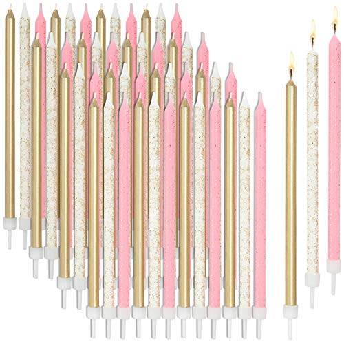 Metallic Glitter Long Thin Birthday Cake Candles in Holders (5 in, 48 Pack)