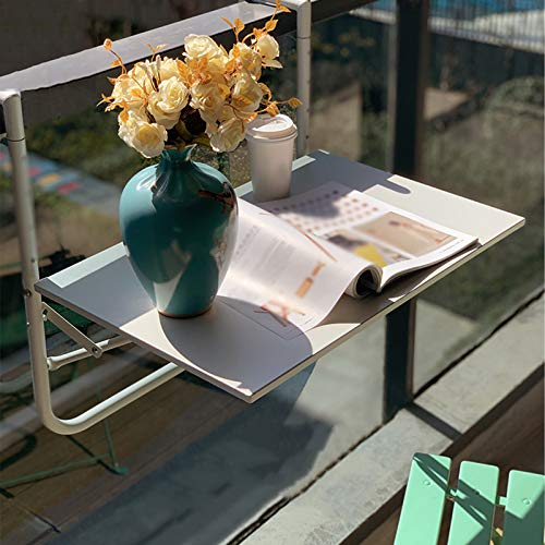 FENGSHOUU Mesa Colgante de Balcón Plegable,Mesita Colgar de Terraza Outdoor,Ajustable Escritorio para...