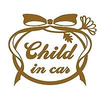 imoninn CHILD in car ステッカー 【シンプル版】 No.29 お花リボン (ゴールドメタリック)