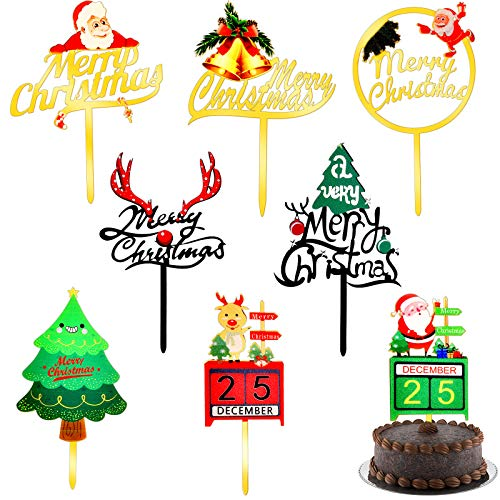 8 Pieces Large Size Merry Christmas Cake Toppers Xmas Cupcake Topper Picks for Christmas Party Cake Decoration Holiday Supplies (8 Styles)