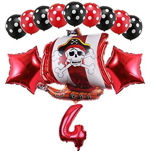 Haosell Decoración de cumpleaños para niños de piratas, globo de 4 años, decoración de 4 años, decoración para fiestas de niños, globos piratas, decoración de 4 años, diseño de niño pirata