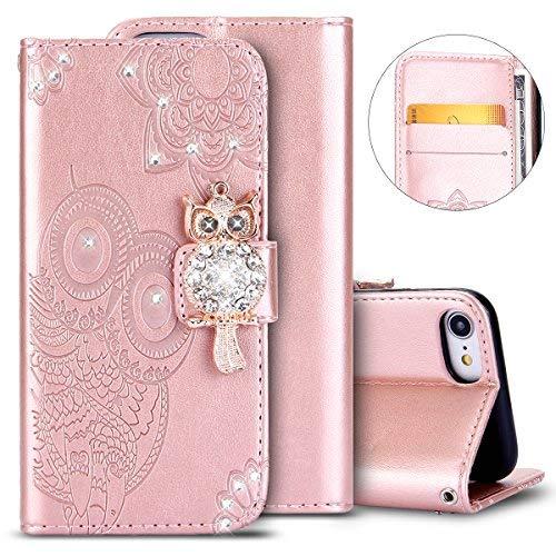 herbests Custodia Pelle compatibile con iPhone 7, Custodia Bling Bling Gufo Diamante Strass Leather Case, ORO