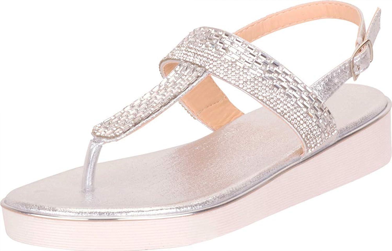 Cambridge Select Women's Thong Toe Glitter Crystal Rhinestone Slingback Flatform Sandal
