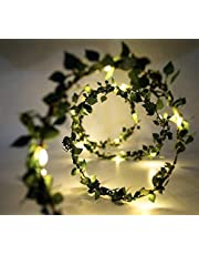 Glimmer Lightings Green Leaf Garland Home Decoration LED Fairy String Light Battery Operated, Copper Wire (5 Meters)