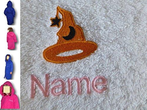 EFY Peignoir à capuche pour enfant avec logo chapeau de sorcier et nom au choix Bleu roi 2, 4, 6, 8, 10 ou 12 ans (6 ans)