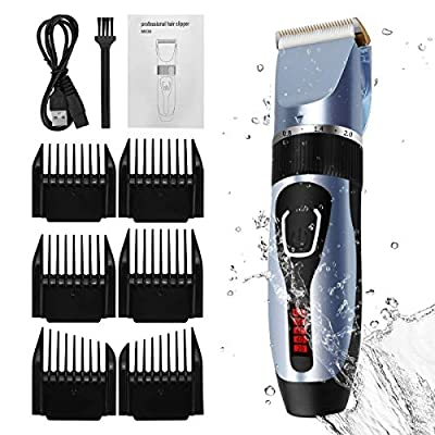 ELOKI Professional Hair Clippers for Men Kids Birthday Day Gifts, cordless and Waterproof hair clippers, Professional USB Rechargeable Hair Shaver with 6 Clippers, Cleaning Brush?blue? by ELOKI