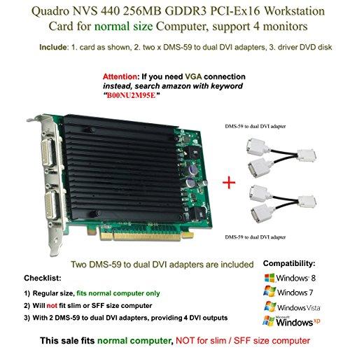 Quadro NVS 440256MB GDDR3PCI-Ex16, unterstützt 4-Monitor, DVI Anschluss