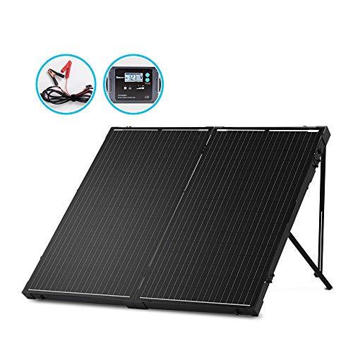 Renogy 100 W 12 V monokristallines Off-Grid tragbares, faltbares Solarpanel, Koffer, integrierter Ständer mit 20 A wasserdichtem Ladegerät-Controller 200W Panel-20A Controller Monokristallin