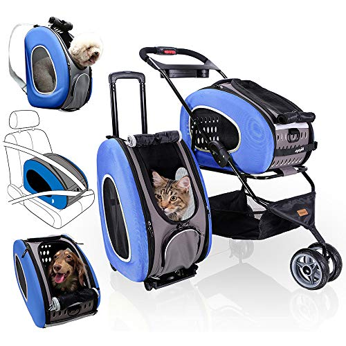 5-in-1 Pet Carrier with Backpack, Pet Carrier Stroller, Shoulder Strap, Carriers with Wheels for Dogs and Cats - Blue