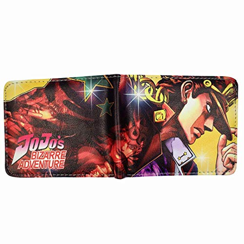 Cartera JoJo's Adventure Wallet Gold/Diamond/Stardust PU Carteras de Cuero bi-Doblez Anime con Bolsillo para Monedas, K