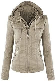Women's Leather Jacket, Autumn and Winter Warm Long Sleeve Zipper Leather Hooded Front Pocket Slim Biker Jacket,e,XL