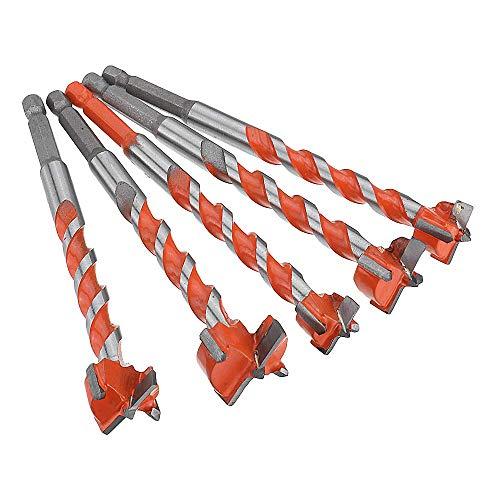 Yadianna 5pcs 16-25mm Hex Shank Twist Forstner Drill Bit Set Hinge Hole Woodworking Hole Saw