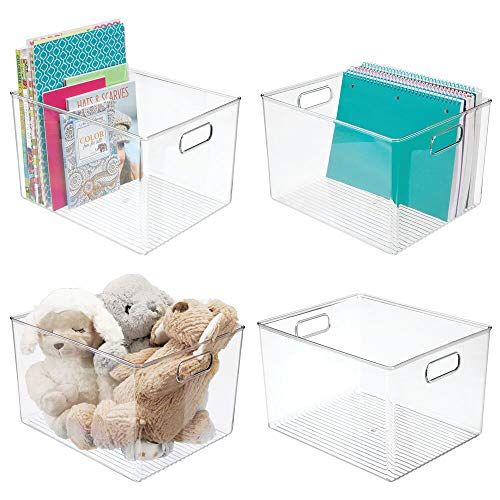 """mDesign Deep Plastic Home Storage Organizer Bin for Cube Furniture Shelving in Office, Entryway, Closet, Cabinet, Bedroom, Laundry Room, Nursery, Kids Toy Room - 12"""" x 10"""" x 8"""" - 4 Pack - Clear"""