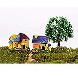 WINOMO 4 casas de muñecas en miniatura, bonsái, manualidades, jardín, resina, paisaje, decoración de villa