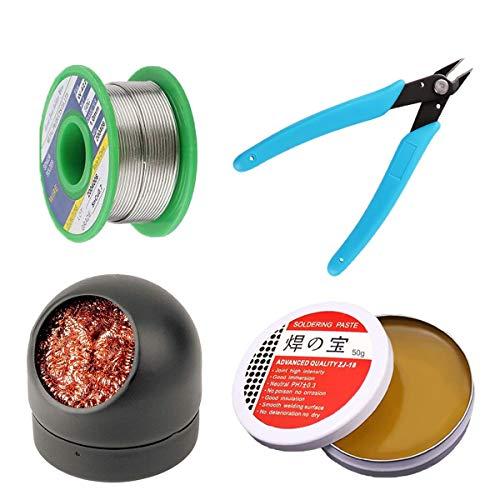 Limpiador de punta para soldador, alicates de corte de alambre microcizallado, pasta de flujo de soldadura, sin plomo, juego de 4 herramientas de soldadura
