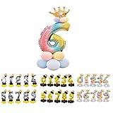 Unishop Cumpleaños Globos Foil Metálico Globo Número Gigante Oro Plata Globos para Fiesta de Cumpleaños Aniversarios Globos Numeros para Cumpleaños Fiesta Decoración (Arco iris 6)