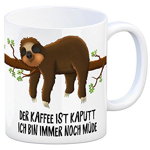 trendaffe - Kaffeebecher mit liegendes Faulter Motiv und Spruch: Der Kaffee ist kaputt - ich Bin Immer noch müde!