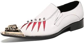 YOWAX Zapatos para Hombre del Remache Cabeza del Metal Forman los Zapatos de Cuero para Informal, Boda, Partido, Personali...