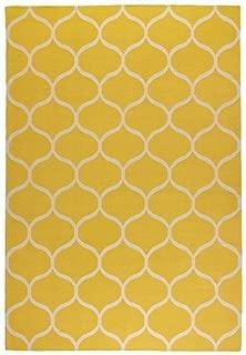 Ikea Rug, flatwoven, net pattern handmade, net pattern yellow yellow 5 ' 7