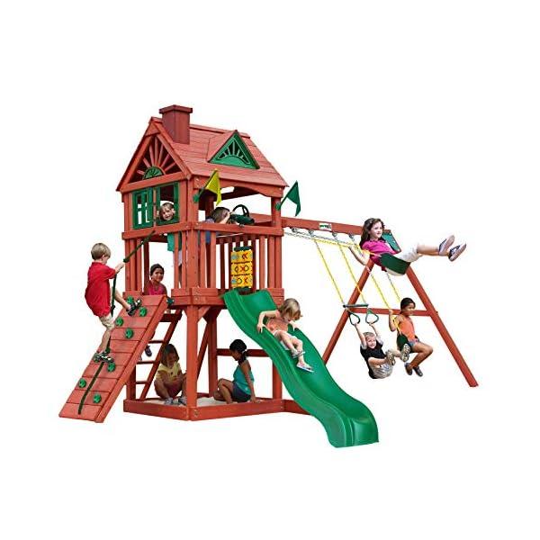 Gorilla Playsets 01-0021 Nantucket II Wood Swing Set with Wood Roof, Two Swings,...