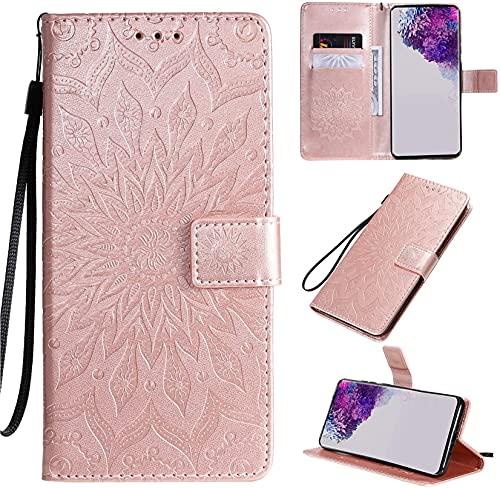 JJSMIDa Capa carteira para Xiaomi CC9 luxuosa em relevo 3D flor mandala fólio couro PU capa com suporte magnético com [compartimentos para cartão] para Xiaomi CC9 (ouro rosa)
