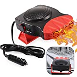 Portable Car Heater, Electronic Auto Heater Fan Fast Heating Defrost 12V 150W Car Heater, Plug Adjustable Thermostat in Cigarette Lighter, 2 in 1 Heating/Cooling Function 3-Outlet Car Heater(Red)