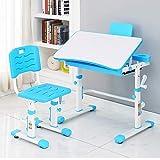 Style home Kinderschreibtisch Schülerschreibtisch Set mit Stuhl, höhenverstellbar, neigbar Schreibtisch Set für Kinder (Blau)