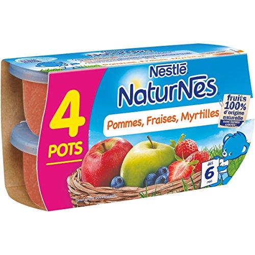 Nestlé Bebé Naturnes Compota De Manzana Fresas Arándanos -Lot 4 -Desde 6 Meses