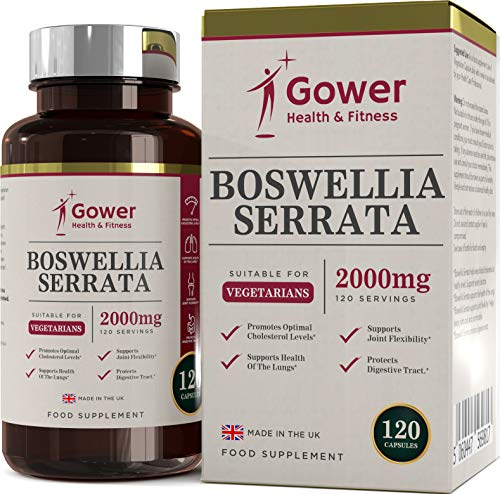 Boswellia serrata capsule (Franchincenso) 5:1 (equivalente a 2000 mg) integratore articolazioni | 120 capsule | POTENTE ANTI-INFIAMMATORIO | Per la salute dei muscoli e delle articolazioni