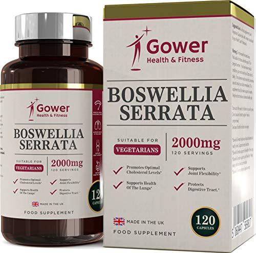 Capsules Boswellia Serrata (Concentré) | Encens Indien | 120 Gélules Végétariennes Pour 4 Mois | Soins des Articulations | Supplément Anti INFLAMMATOIRE Naturel | Gower Health & Fitness