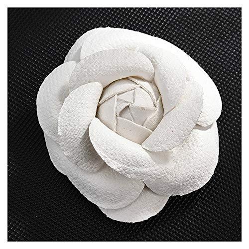 JIWEIER Neue koreanische handgemachte PU-Leder-Kamelie-Blumen-Brosche Blume im Knopfloch-Revers Pin Schmuck Broschen Corsage Geschenke for Frauen Accessoires Broschen für Frauen (Size : White)
