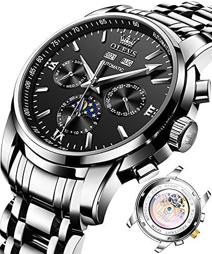 Watches for Men Silver Stainless Steel Luxury Dress Watches Automatic Mechanical Wrist Watches for Male Black Dial Moon Phase Chnorograph Dial Waterporoof Date Luminous OLEVS Brand