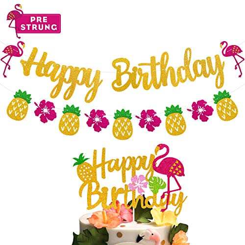 Flamingo Happy Birthday Decorations Party Banner and Cake Topper Hawaiian Theme Pineapple Palm Leaf Tropical Party Supplies Pink Glitter Décor
