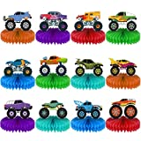 12 Pieces Monster Truck Decorations vehicle Themed Centerpieces for Tables Decorations 3D Monster Truck Car Theme Honeycomb Table Topper for Boys Girls Kids Transportation Birthday Baby Shower Party Supplies