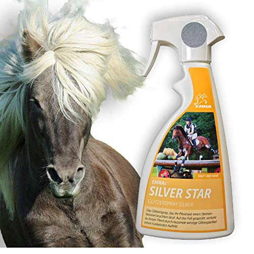 EMMA Spray de Brillo para Caballos Spray de Cola y Crin con Brillo Plata I Spray de Crin en Plata I Cuidado del Caballo I Abrigo Brillo I Spray de Pelo I 500 ml