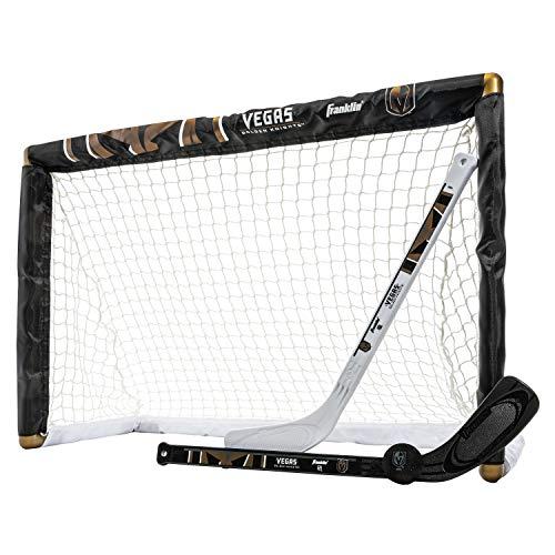 Franklin Sports NHL Team Lizenzprodukt Knie-Hockey-Set–inkl. 2Mini Hockey Sticks und One Schaum Mini Hockey Ball, unisex, Franklin Sports Nhl Vegas Golden Knights Mini Hockey Goal Set, schwarz