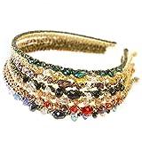 Frcolor Diadema de joyas, cinta de diamantes de imitación Bohemia de cuentas diadema con estilo, diadema para niñas de mujer, 7 piezas