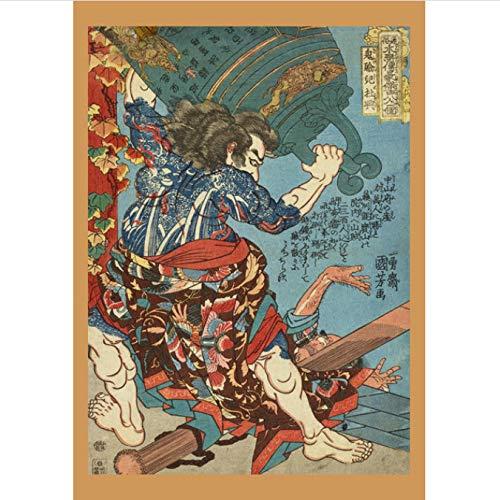 Preisvergleich Produktbild Ukiyoe Poster Portrait Canvas Wall Painting Retro Samurai Asian Warrior Wall Art Home Decoration Canvas Painting Decoration 50X70CM (y:3246)