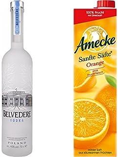 Belvedere Wodka 1 x 0.7 l mit Amecke Sanfte Säfte Orange, 6er Pack 6 x 1 l