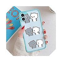 For iPhone 12 11 Pro Xs 8 7 6S Plus XS MAX XR SE2020用の素敵なかわいい灰色の猫の電話ケースILOVEUカップルの電話カバークリアケース-9-For iPhone SE 2020