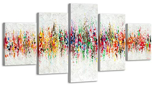 YS-Art Premium | Set | Cuadro Pintado a Mano | Cuadro Moderno acrilico| 160x80 cm | Lienzo Pintado a Mano | Cuadros Dormitories | único | Multicolor | 5 Partes | M009