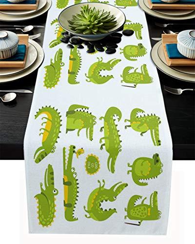 FAMILYDECOR Camino de mesa de arpillera de lino, 45,7 x 182,8 cm, diseño de cocodrilo, color verde, antideslizante, para fiestas de vacaciones, comedor, hogar, cocina, decoración de boda