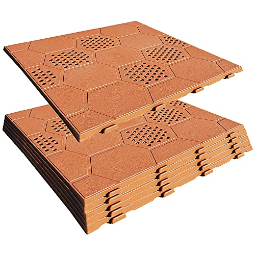 WellHome PK3647 Pack de 6 (0,9m²) para Suelo (terraza, Piscina, Camping, Exterior), Color Terracota Easy39x39 cm. y 2,5 cms. de Alto 1m²: 6,6 baldosas para Jardin