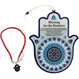MASORET Good Luck Hamsa Hand Wall Hanging Decor Blessing for The Business Evil Eye Protection Amulet English Blessing Set 2