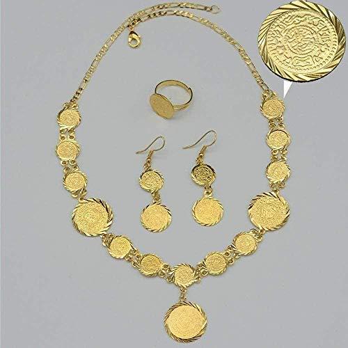 YOUZYHG co.,ltd Collar Conjuntos de Joyas Collar Pendientes Anillo Conjunto para Mujer Oro Color s joyería de Fiesta árabe Dinero Regalo Collar