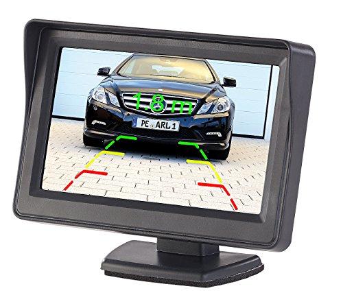 Lescars Rückfahrmonitor: Kfz-Monitor für Rückfahr- & Front-Kamera, LCD-Display mit 10,9 cm/4,3