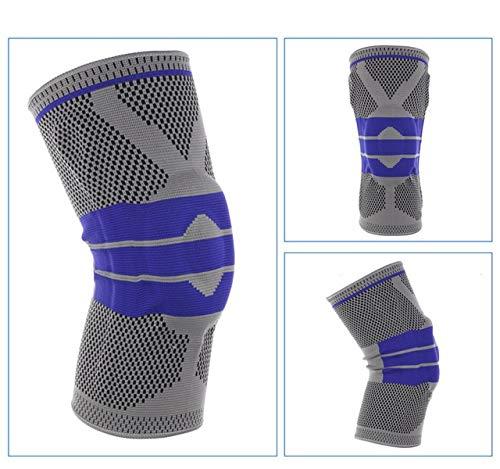 Rodilleras de Silicona con Soporte de Baloncesto, Rodilleras, Protectores de meniscos, Protectores de Rodillas para Deportes al Aire Libre - Gris, 36 cm a 42 cm L