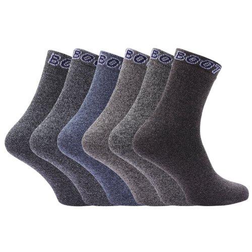 FEMMES / FEMMES riche en coton Chaussettes hautes (lot de 6) - marron /gris/ Jeans, UK Shoe 4-7, EUR 35-41