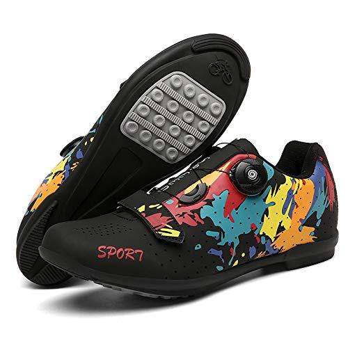 JINFAN Men's Cycling Shoes MTB Road Mountain Biking Shoes With Locks,winter Sports Shoes For Men And Women/soles-nylon,Black-4UK=(235mm)=37EU